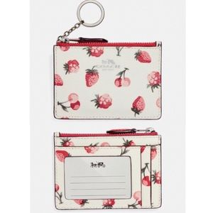Coach NWT Strawberry and Cherry Print ID/Card Case